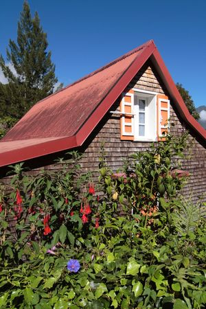 Wooden house, typical of Hell-Bourg village, Salazie caldera, Reunion island Stock Photo