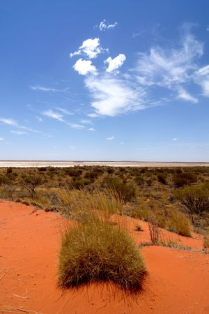In the Australian outback, the red centre, a salted lake