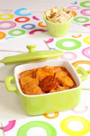 Casserole with tripe, chorizo and sauce