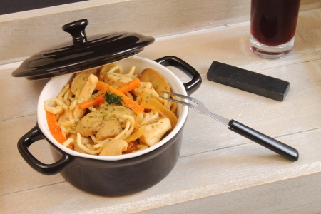 Noodles with chicken and vegetables photo