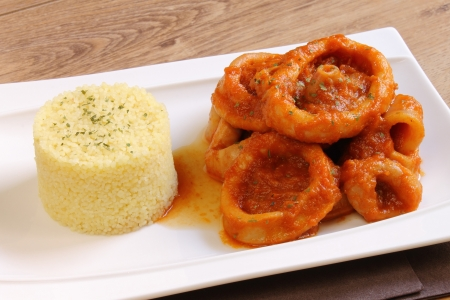 Plate of calamari with couscous