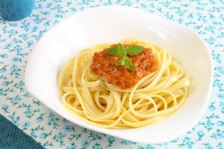Pasta in bolognese sauce Stockfoto