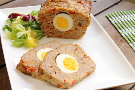 Meatloaf with boiled egg and red pepper Stock Photo - 20235505