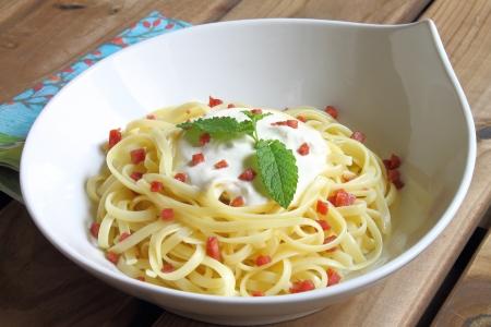 Noodles carbonara