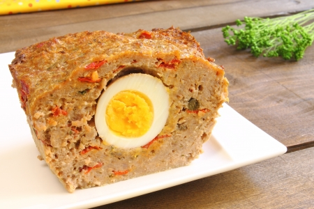 Meatloaf with boiled egg and red pepper Stock Photo - 20235507
