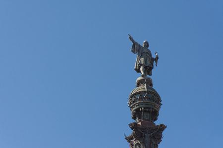 colonizer: columbus monument in barcelona city,near the rambla