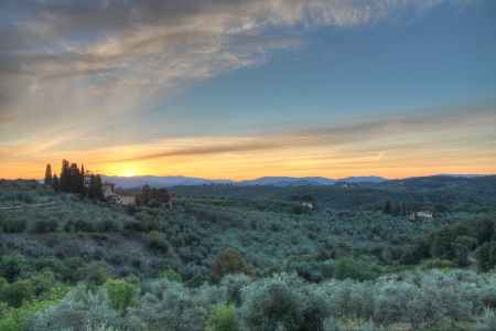 Sunrise in the Tuscan countryside Stock Photo