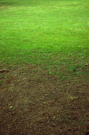 tierra fertil: Tierra f�rtil de inflexi�n en el verde c�sped  Foto de archivo