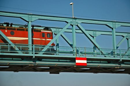 danubian: Train running over Danubian bridge
