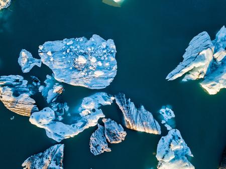 Iceland Iceberg at Jokulsarlon in Southern Iceland Drone Shot Arial Views Stock Photo