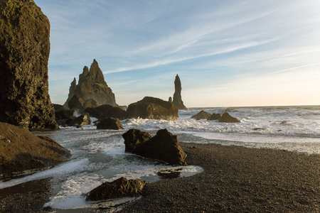 Reynisfjara beach near the village of Vik on the southern coast of Iceland