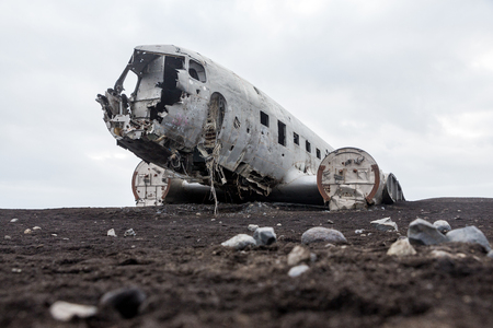 Abonded Airplane DC wreck in Iceland solheimasandur beach Stock Photo
