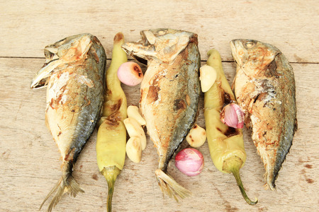Fried Mackerel and fried vegetable ,Thai food photo