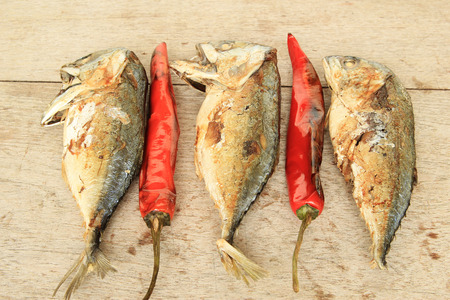 Fried Mackerel and fried red peppers ,Thai food photo