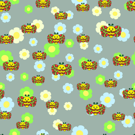bambino: Beautiful seamless pattern with bees,  flowers. Illustration