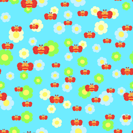 Beautiful seamless pattern with bees and flowers. Colorful seamless texture for your design made in vector.