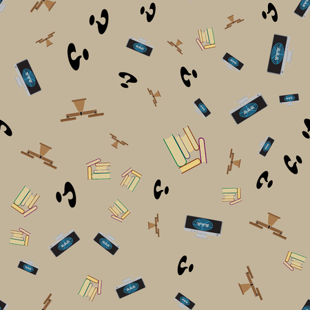 Seamless pattern with books, computer with Internet, scales and question mark.  Equality of obtaining information from books and the Internet. Illustration