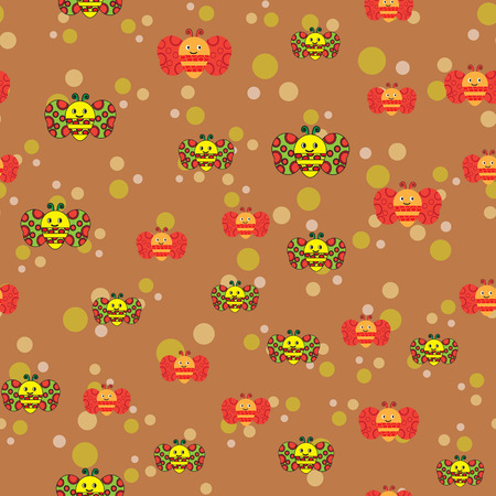 Beautiful seamless pattern with bees and multicolored balls, . Colorful seamless texture for your design made in vector.