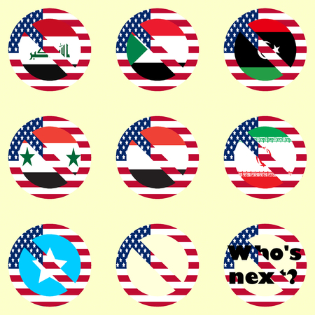 condemnation: A set of vector icons prohibiting travel for citizens of certain countries. Flags of different countries.