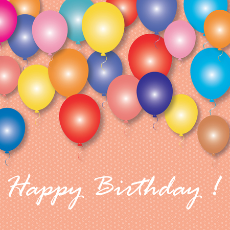 Colorful balloons with the words Happy Birthday. Vector greeting card.