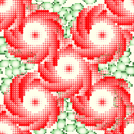 Pattern with red roses and green leaves. Style embroidery. Vector illustration.