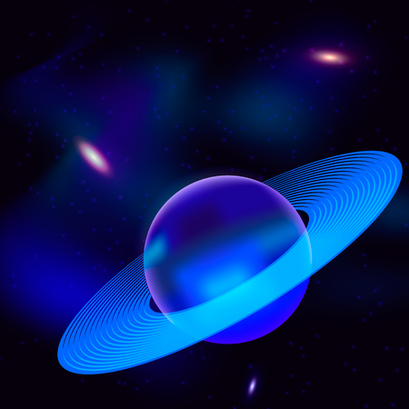 Blue planet with rings in space with stars and nebula. Vector illustration. Vettoriali