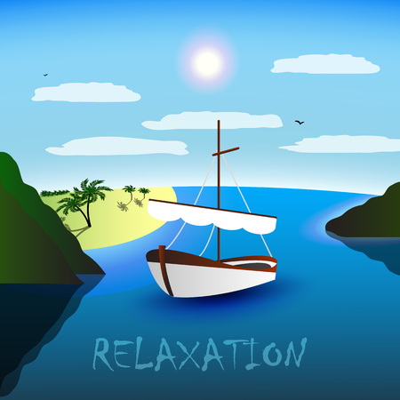 A single-masted sailboat in the beautiful bay. Beach, palm trees and sea. Blue sky, white clouds, seagulls. Relaxation for body and soul. Illustration