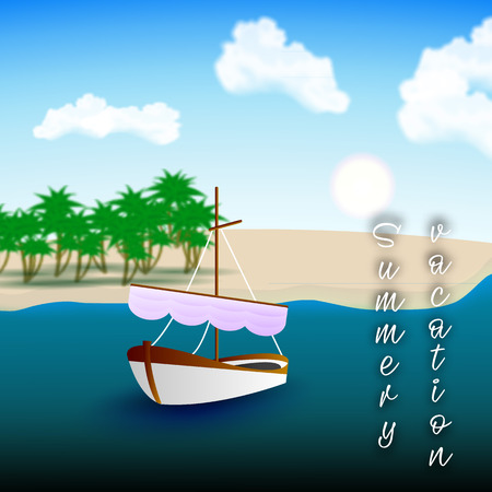 A beautiful single-deck boat in the boundless sea. Great summer vacation. Vector illustration to promote your holiday.