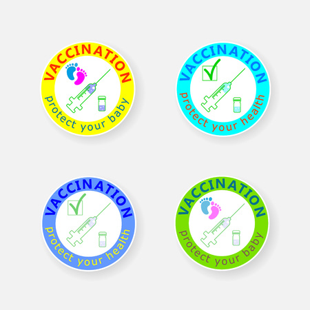 Vaccination badge. Icon injection and ampule. Protect your health. Protect your baby. Vector illustration. Illustration