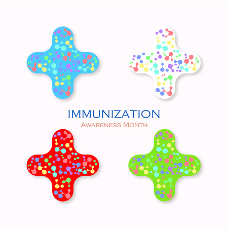 Icon Immunization. Time to vaccinate. Awareness month. Vector illustration. Illustration