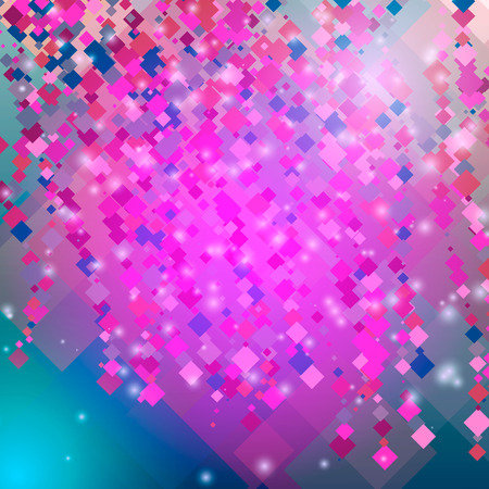 Abstract pink background with diamonds and squares. Vector illustration
