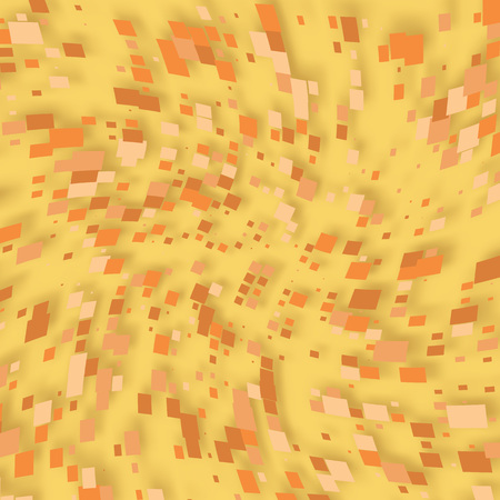 Swirling of orange and yellow pixels. Vector pixel illustration for design.