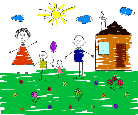 Childrens picture of a happy family. Vector illustration Illustration