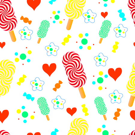 Cute seamless pattern with sweets. Çizim