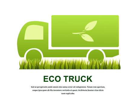 Truck isolated on white background. Eco concept. Vector illustration.