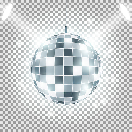 Disco ball with light rays on transparent background. Spotlights Effect. Vector image Stock Illustratie