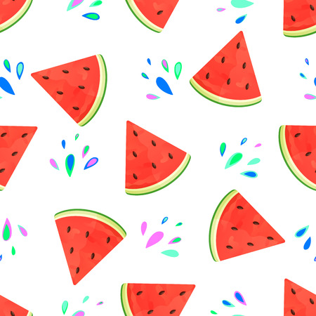 Watermelon on a white background with colored drops. Seamless vector pattern