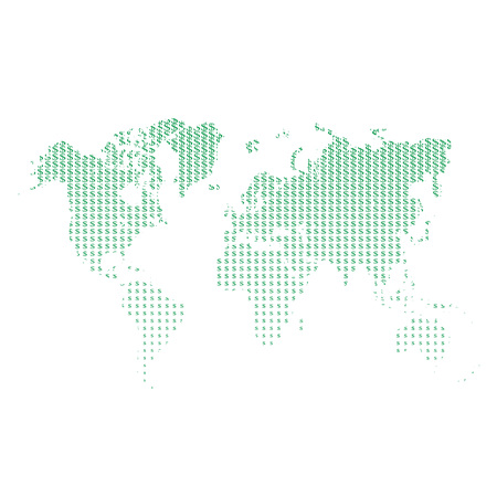 Green World Map Design. Hatched World Map with signs of dollars. design for your business advert of economic, wealth, travel. Vector Illustration