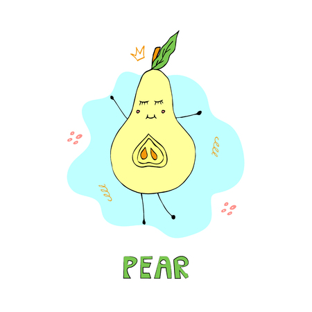 Cartoon princess pear flat hand drawn character. Isolated vector design element with lettering. Vector illustration.  イラスト・ベクター素材