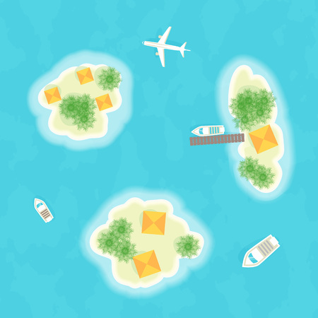 Summer vacation. The islands, ships and plane. Time to travel. Vector illustration