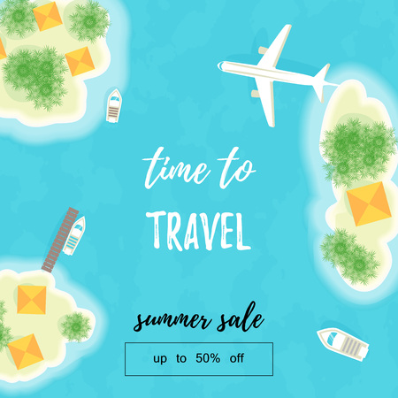 Summer vacation. The islands, ships and plane. Time to travel. Summer sale. Up to 50 off. Vector illustration - Vector