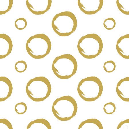 Handgezeichnete goldene Kreise auf weißem Hintergrund. Textur malen. Nahtloses Vektormuster. Vektor.