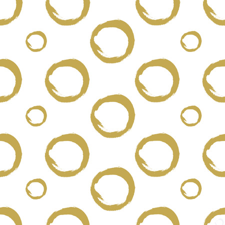 Hand drawn golden circles on a white background. Paint texture. Seamless vector pattern . Vector.