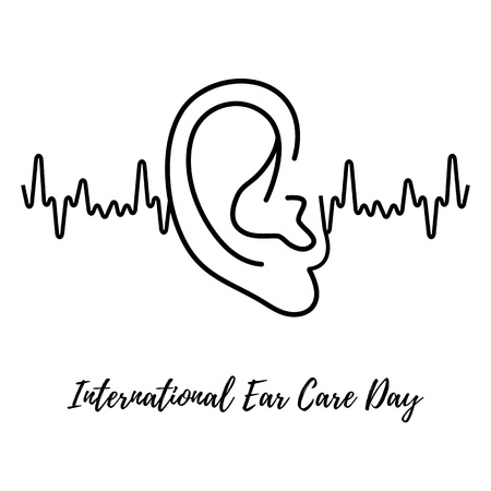 International Ear Care Day. Background with human ear. Medical poster design. Vector illustration. Vector