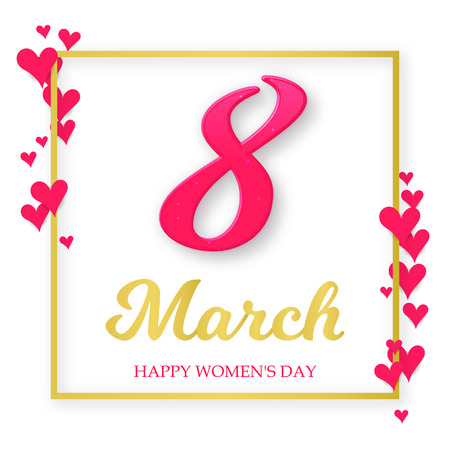 8 number 3d with golden frame, hearts on a white background. International womens day poster. Vector greeting card. Vector composition