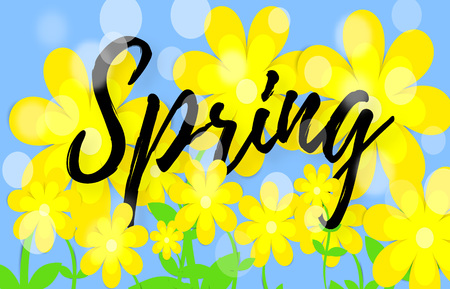 Bright spring background with paper flowers. Lettering spring season with leaf for greeting card, invitation template Vector illustration Vector