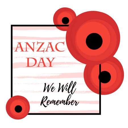 ANZAC DAY. Remembrance day symbol. Poppy flower. Vector illustration Vector