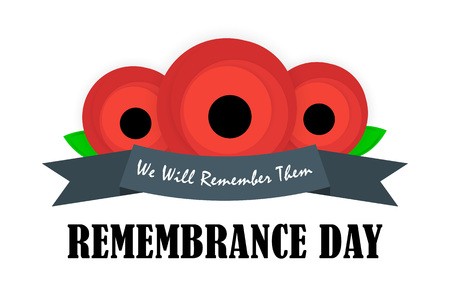 ANZAC DAY banner design. Remembrance day symbol. Card with red poppies and lettering text. Vector illustration