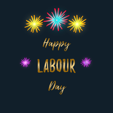 Happy Labours day inscription on a black background. International Labor Day. Greeting card with calligraphy. Vector