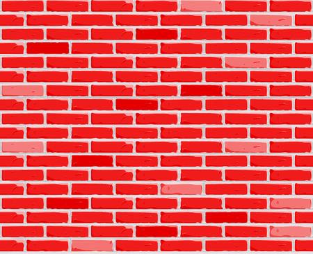 Red Brick wall background. Texture of bricks. Seamless Vector illustration. Vector illustration
